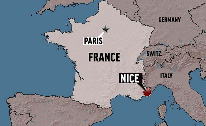 Ницца на карте